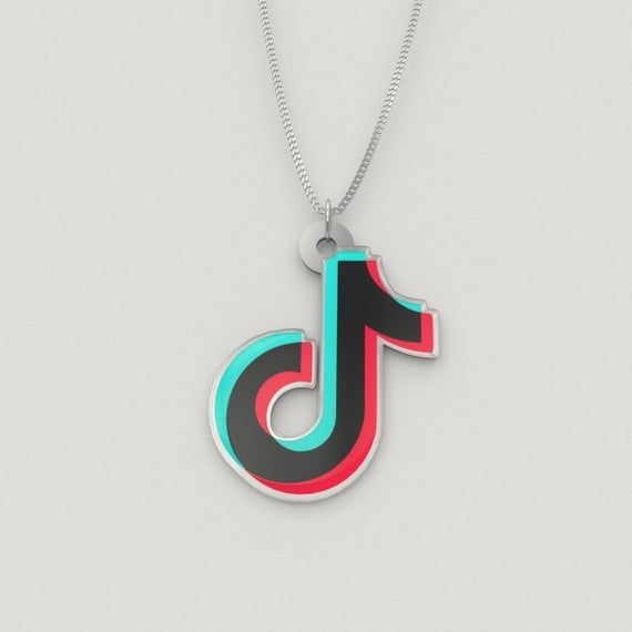 Tiktok Charm Necklace Full Color Pendant Suspended From An 18 Inch Curb Chain In Plated Or Sterli Cute Outfits For Kids Cute Girl Outfits Girl Backpacks School