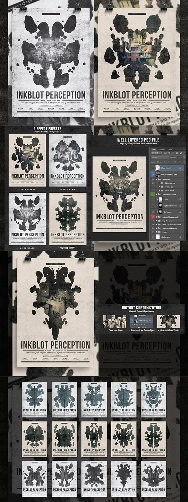 This week Access All Areas members can download a cool flyer template courtesy of Yusof Mining. The design is inspired by the Rorschach test and features 15 unique inkblot patterns made from real ink and paper. The template is A4 in size at 300dpi with 3mm bleed, making it ready for professional printing. Well organised …