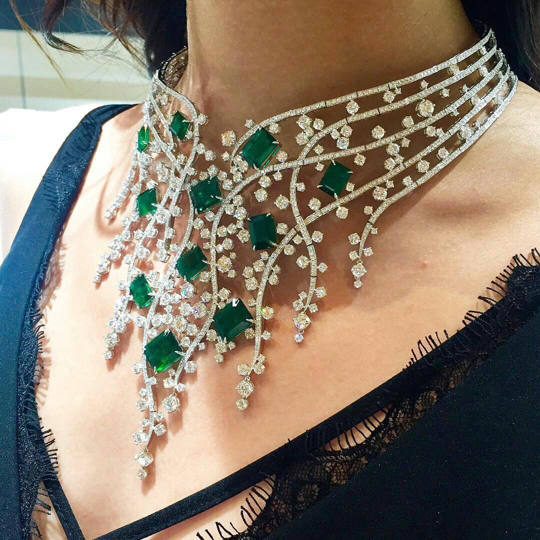 A Magnificent Emerald Collar By Molujewellery Fancy Necklace Beautiful Diamond Necklace Necklace Designs