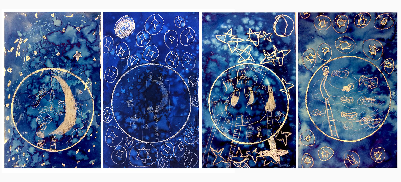 thema: 'reis naar de maan'. Gemaakt door leerlingen  van 6-10 jaar