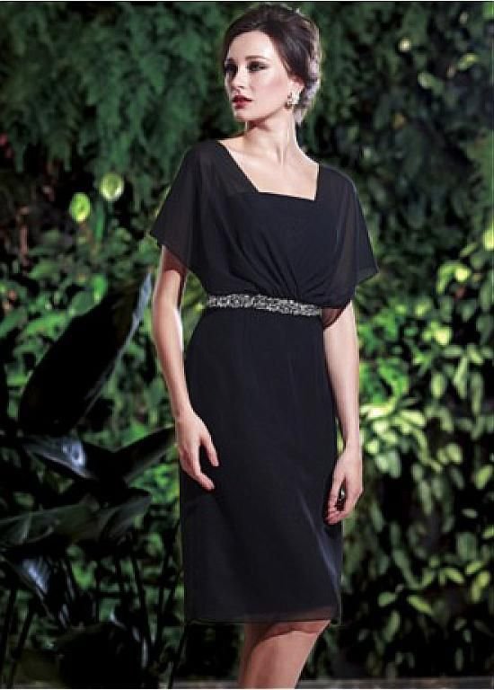 Gorgeous Chiffon Sheath Square Neckline Knee-length Mother of the Bride Dress