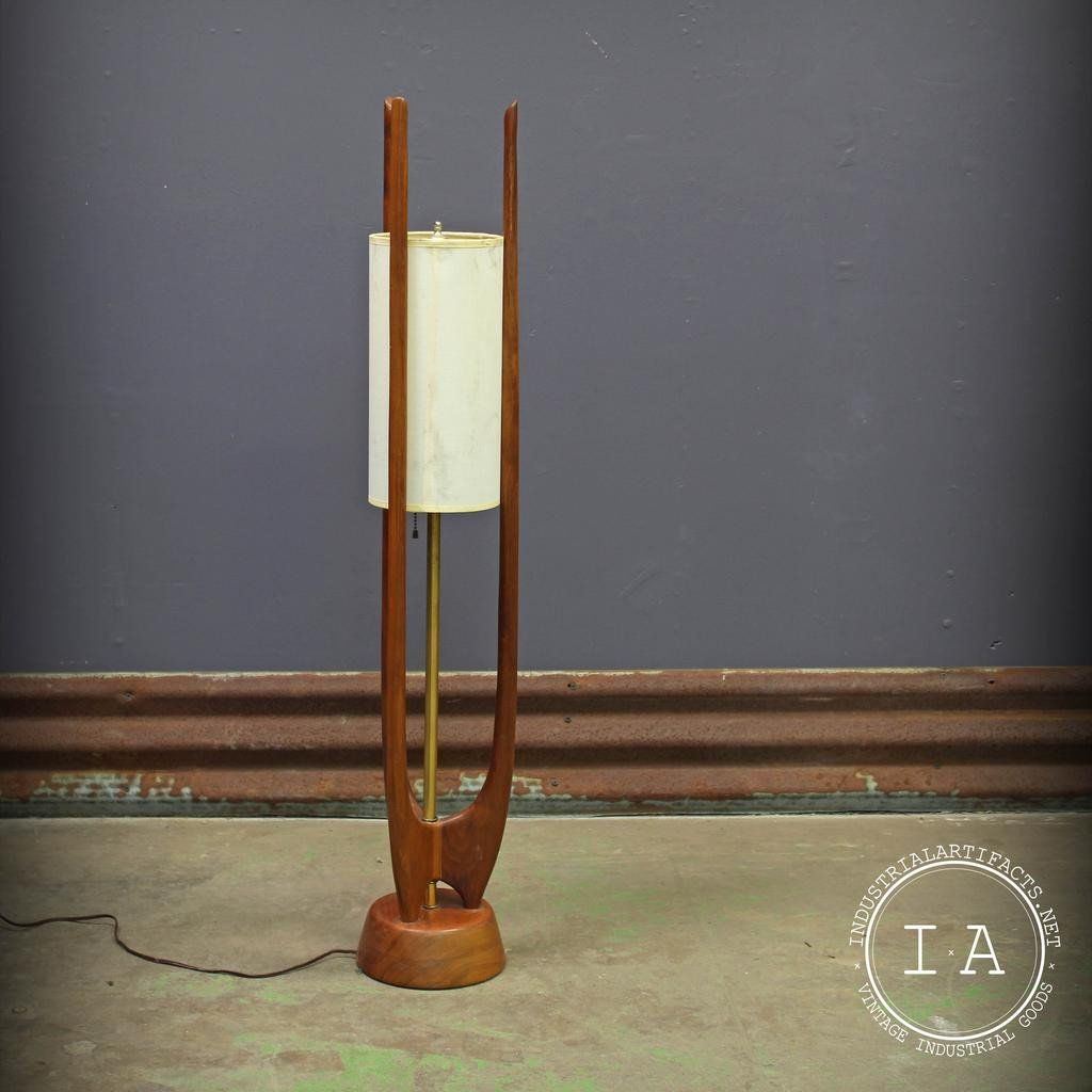 Vintage Mid Century Modern Modeline Danish Teak Floor Lamp