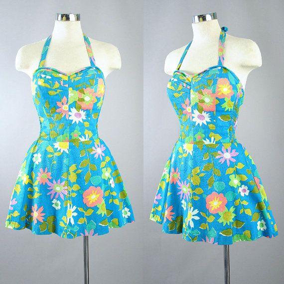 512fdf134d Vintage 50s B.Altman HAWAIIAN Skirted ROMPER   1950s Teal Cotton Playsuit  Sun Suit Mini Pinup Beach Dress Bombshell Swimwear Small Medium
