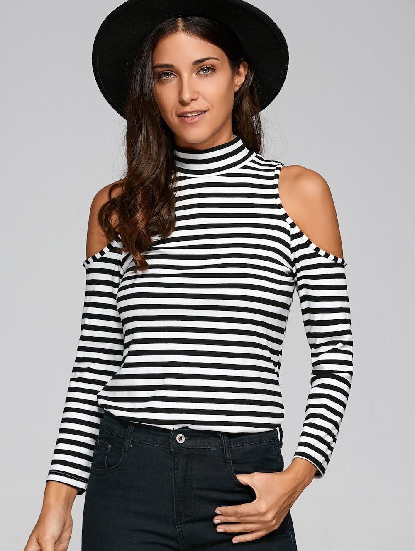 2de77ca9d4495 Turtleneck Long Sleeve Striped Cold Shoulder T-Shirt - WHITE BLACK 2XL