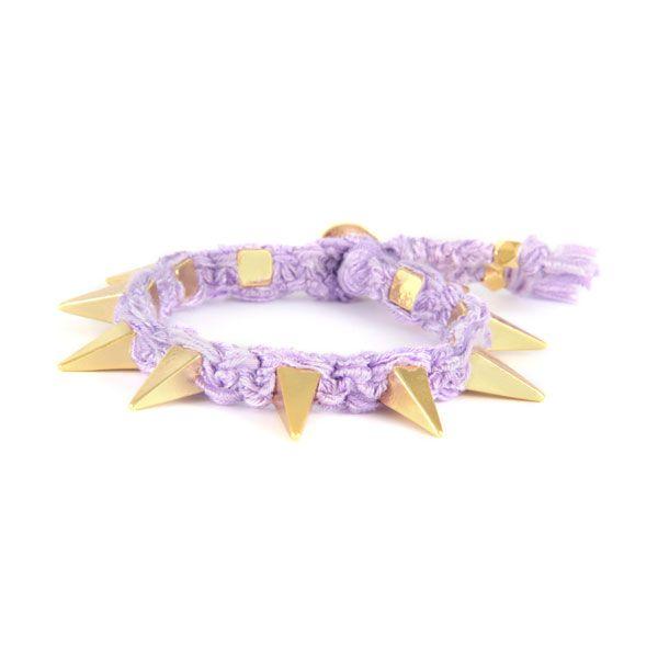 Lily Vintage Ribbon with Gold Pyramid Spikes #ettika #rocker #rockandroll #jewelry #accessories #boho #bracelet