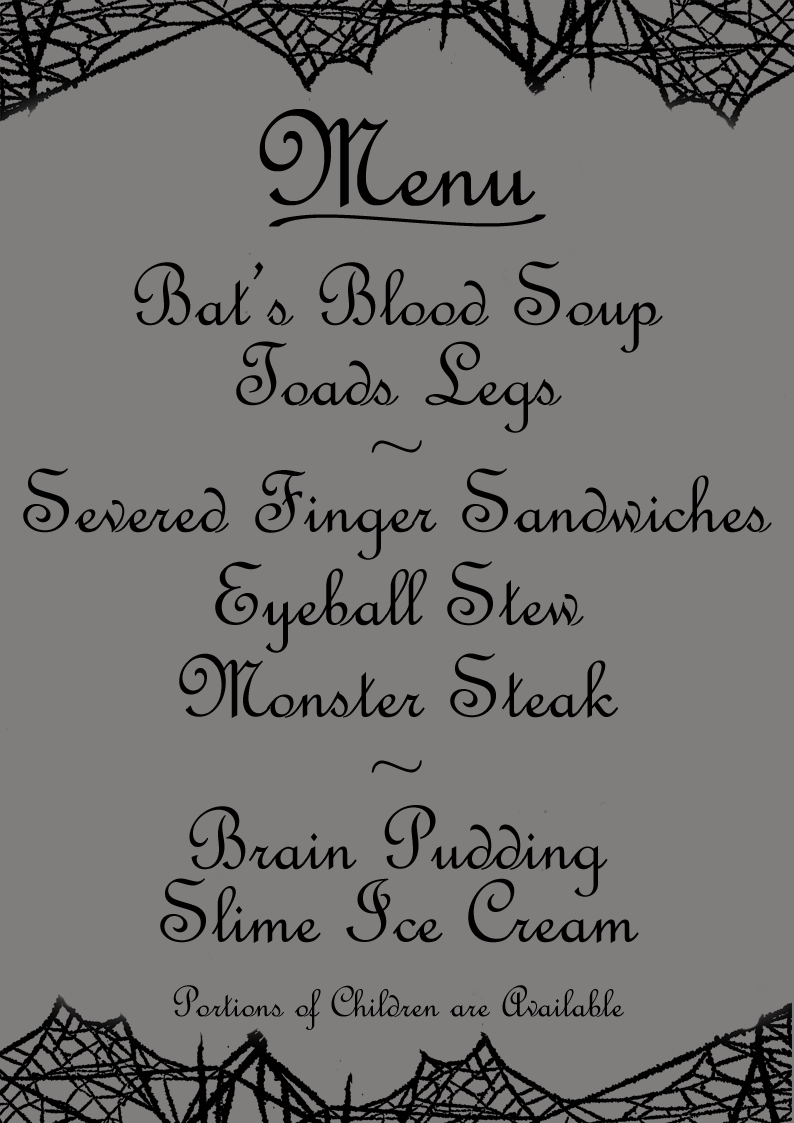 Silly Halloween menu printable with nasty-sounding dishes! Free to ...