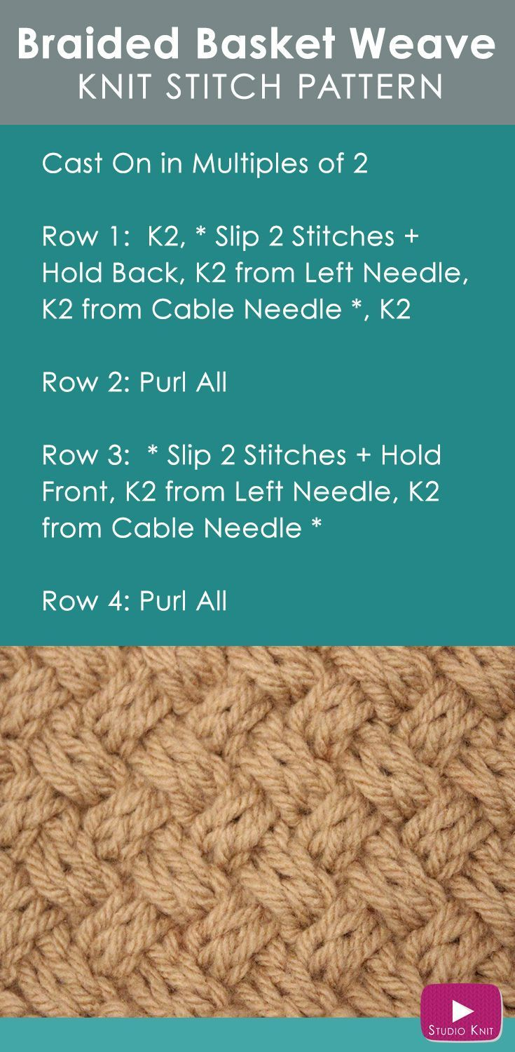 How to Knit the Basket Weave Stitch Diagonal Braided + Woven | Knit ...
