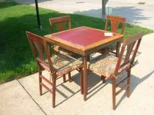Antique Set Of Folding Card Table And 4 Folding Chairs Leg O Matic This Is A Lovely Antique Vint Outdoor Furniture Sets Mahogany Table Card Table And Chairs