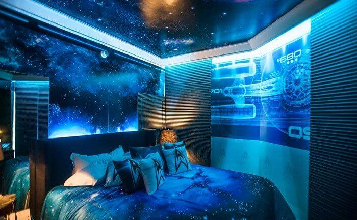 50 Space Themed Bedroom Ideas For Kids And Adults Space Themed Bedroom Themed Hotel Rooms Space Themed Room