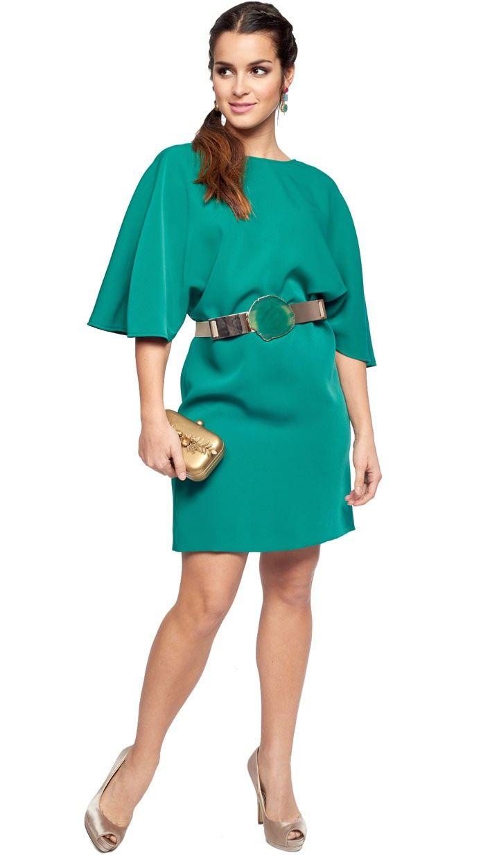 vestido corto verde con mangas para invitada disponible en alquiler ...