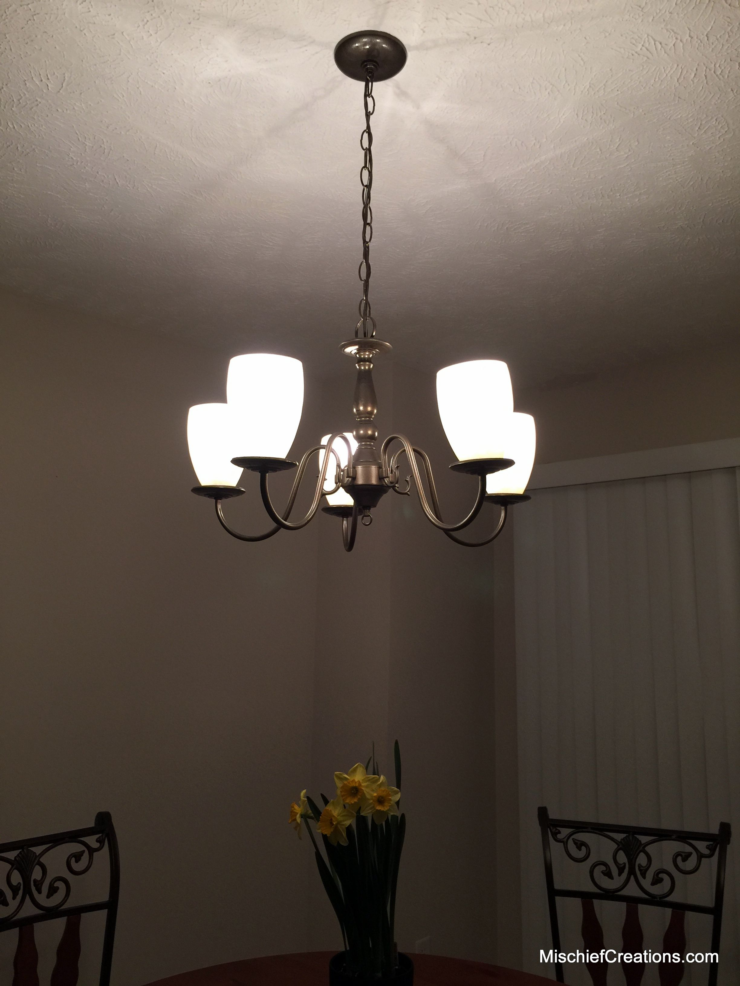 Lighted After Spray Paint Brass Chandelier Makeover