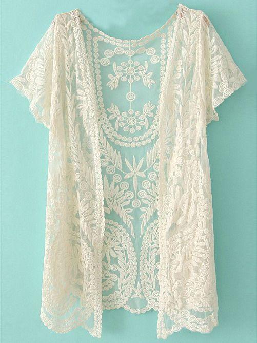 White Short Sleeve Crochet Net Lace Cardigan Fall Wardrobe Lace
