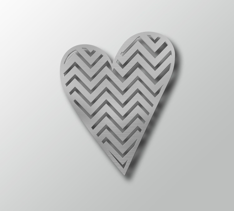 Heart w/ Chevron Pattern - Metal Wall Art - Heart Shaped Wall ...