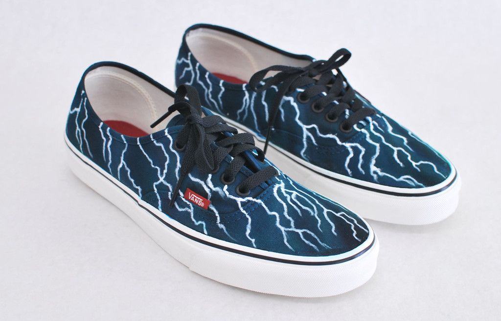Black Authentic Vans - Lightning Bolts