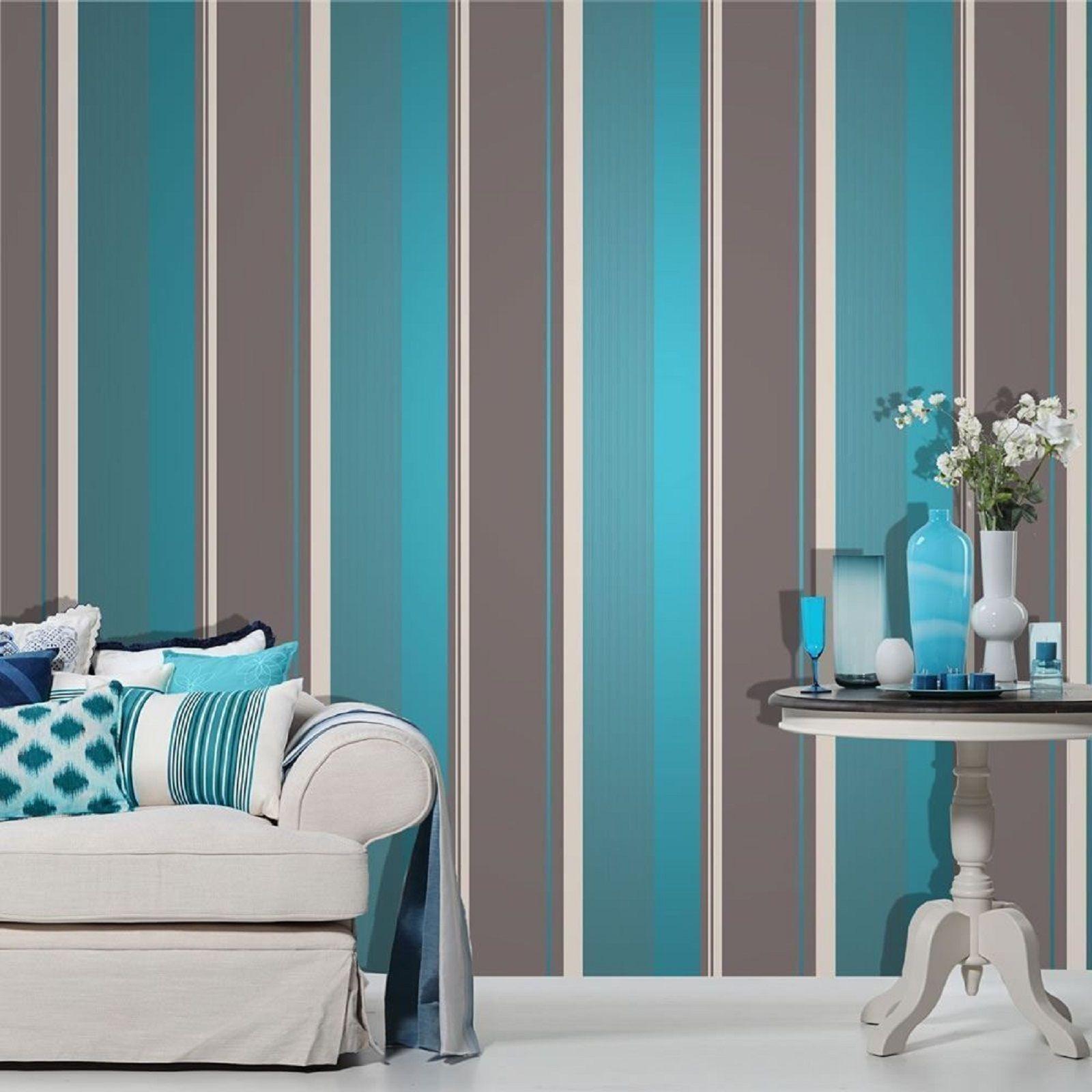 Millie Stripe Wallpaper Teal / White & Silver Luxury