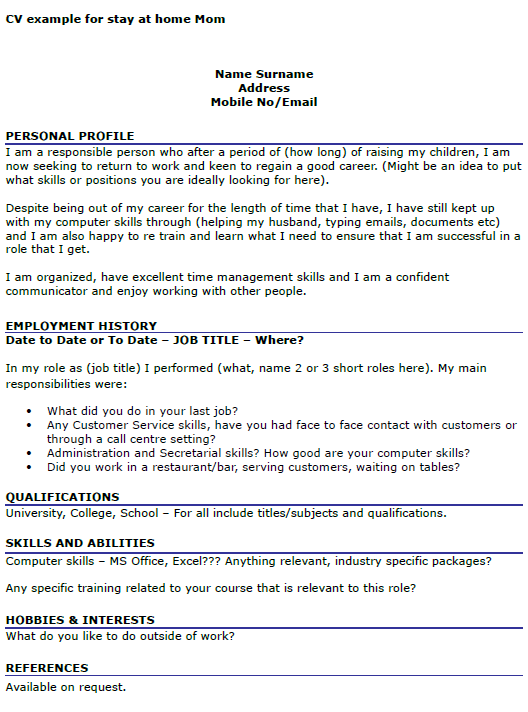 cv example for stay at home mom - Resume For Stay At Home Mom