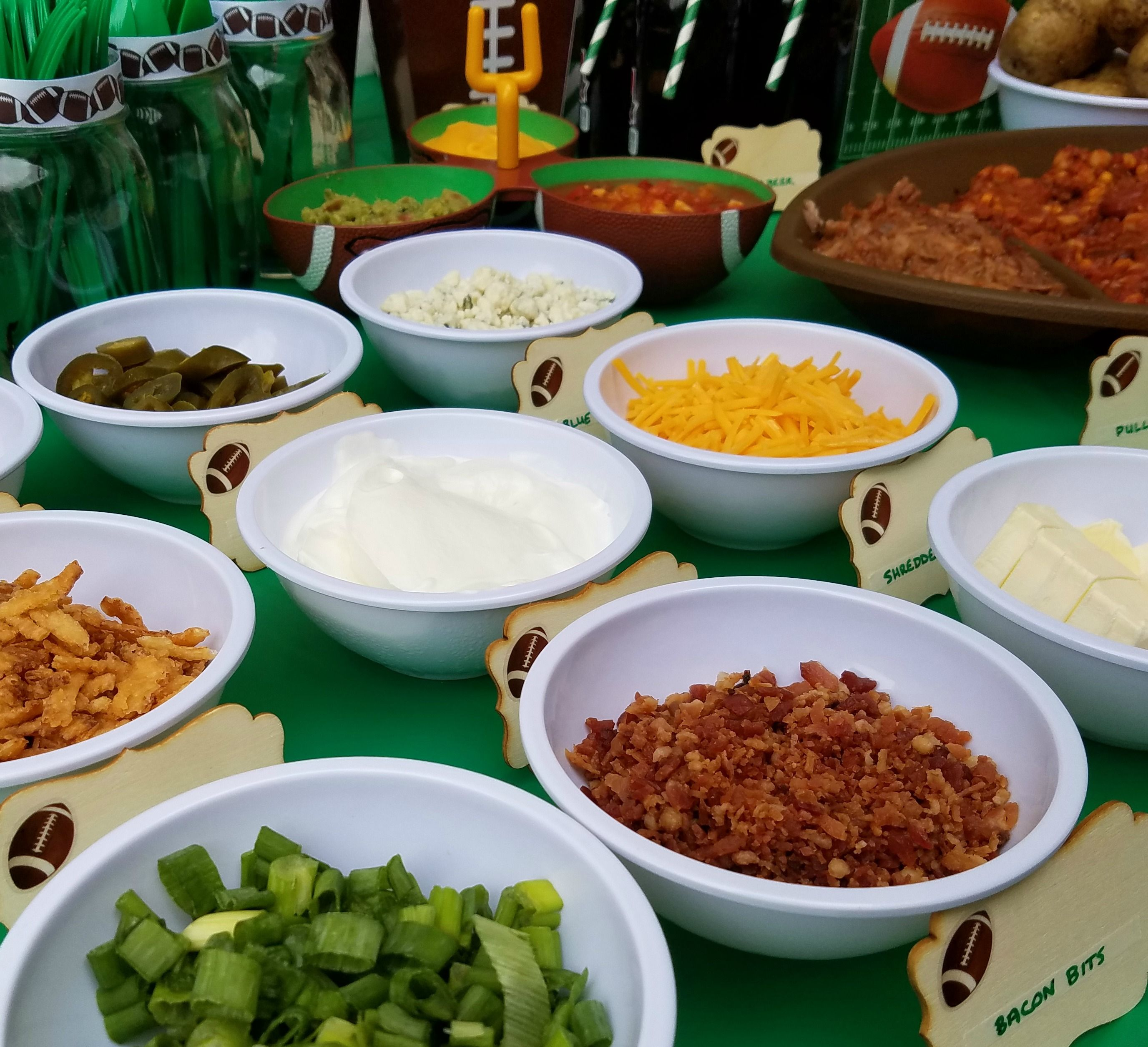 Football Party With A Baked Potato Bar | Superbowl | Baked ...