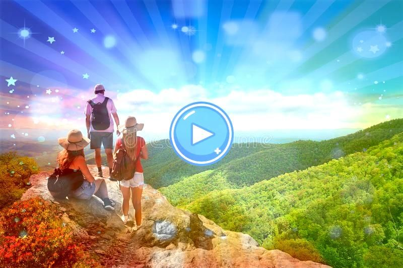 with backpacks hiking on summer trip in mountains Father with his family People with backpacks hiking on summer trip in mountains Father with his family  Winter Rise Musi...