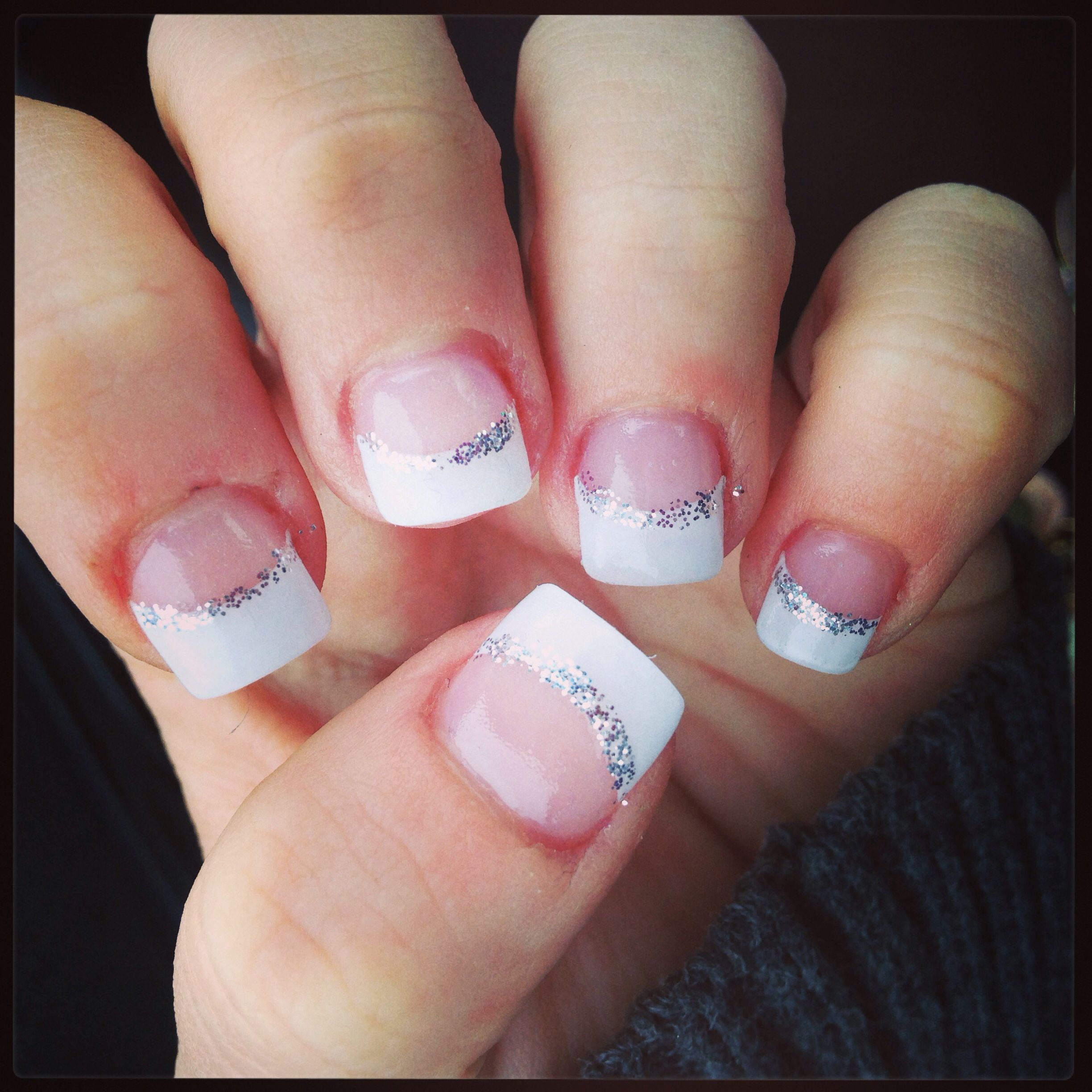 Acrylic Nails For Prom: French Tips With Silver Design