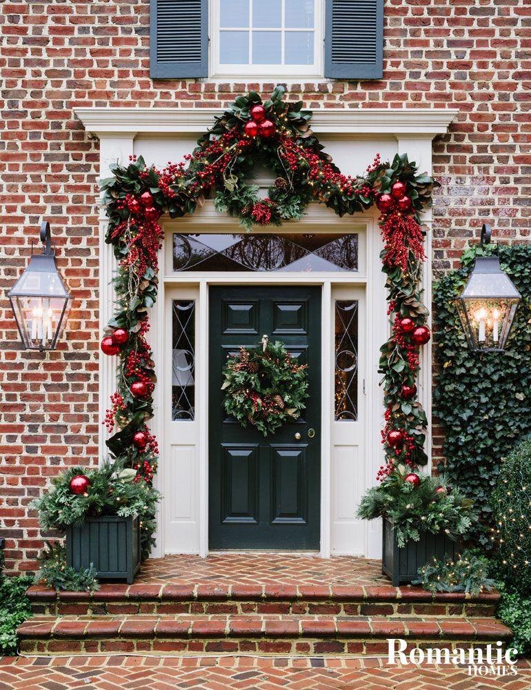 Explore the opulent christmas decor in this traditionally - Christmas decorating exterior house ...