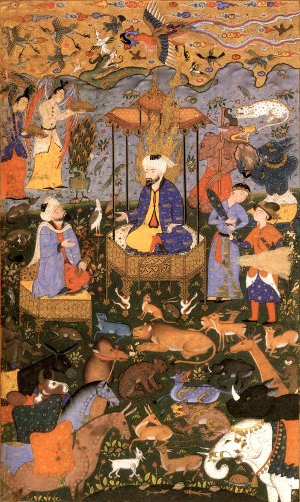 Hz. Süleyman (a.s)'ın sarayında simurg, cinniler ve diğer hayvanat. (Firdevsi Rum-i)