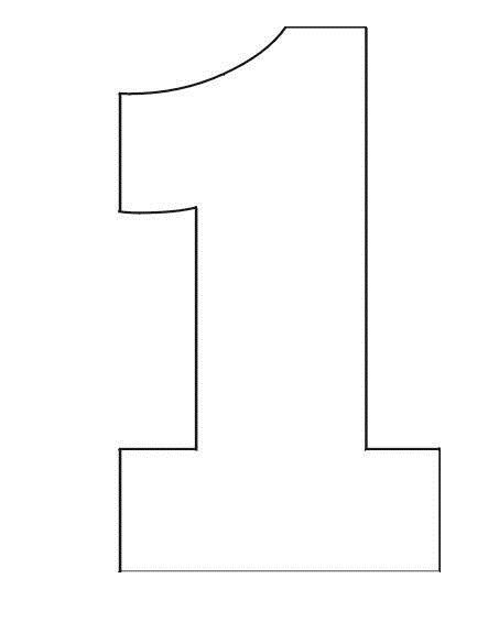 Coloring pages stencil of number 1 one year birthday for Number 9 cake template