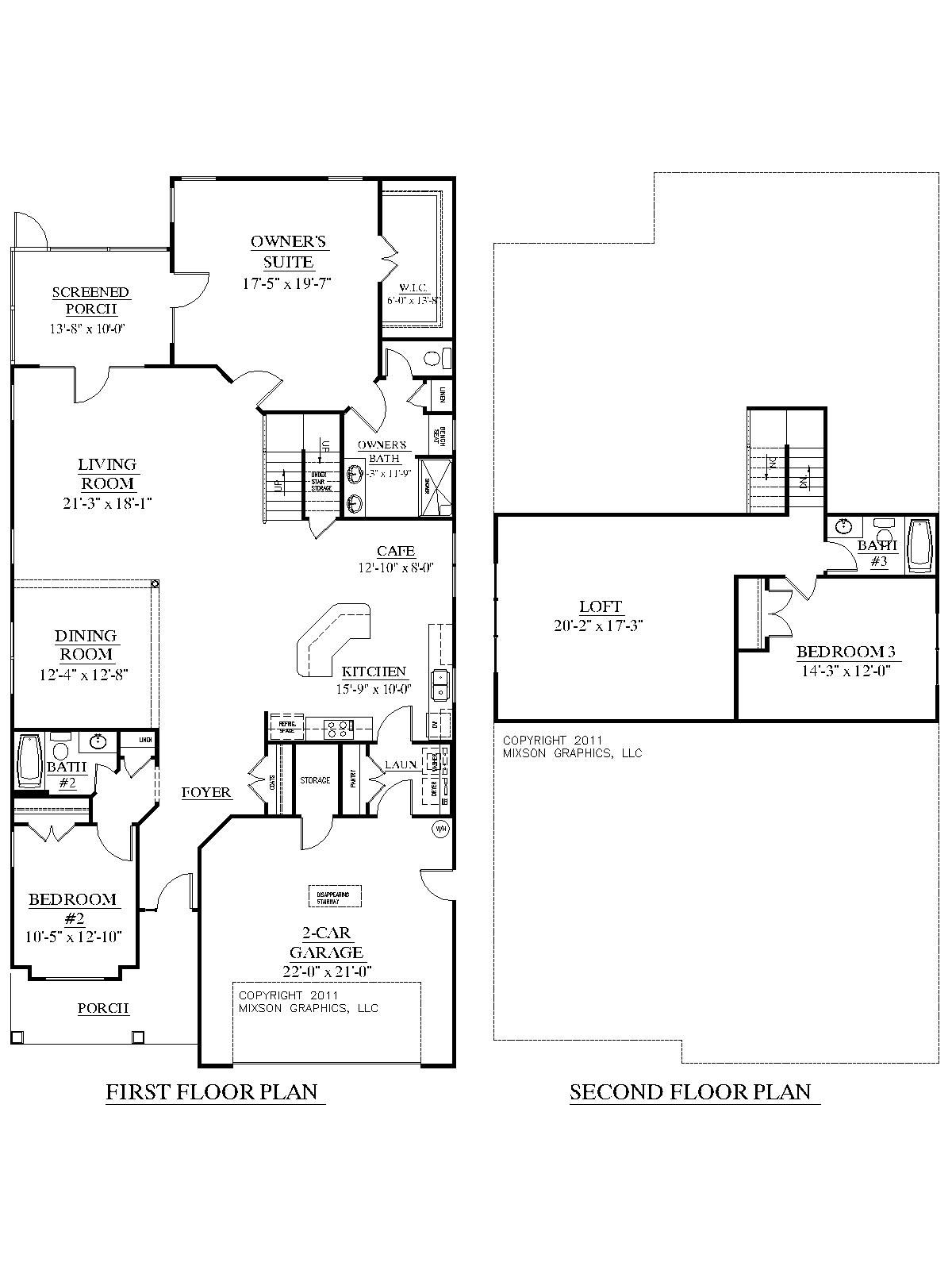 House Plan 2755 WOODBRIDGE floor plan   Traditional house plan with 3  bedrooms and 3 full baths  Large  open living area  Master Suite and second  bedroom. House Plan 2755 WOODBRIDGE floor plan   Traditional 1 1 2 story