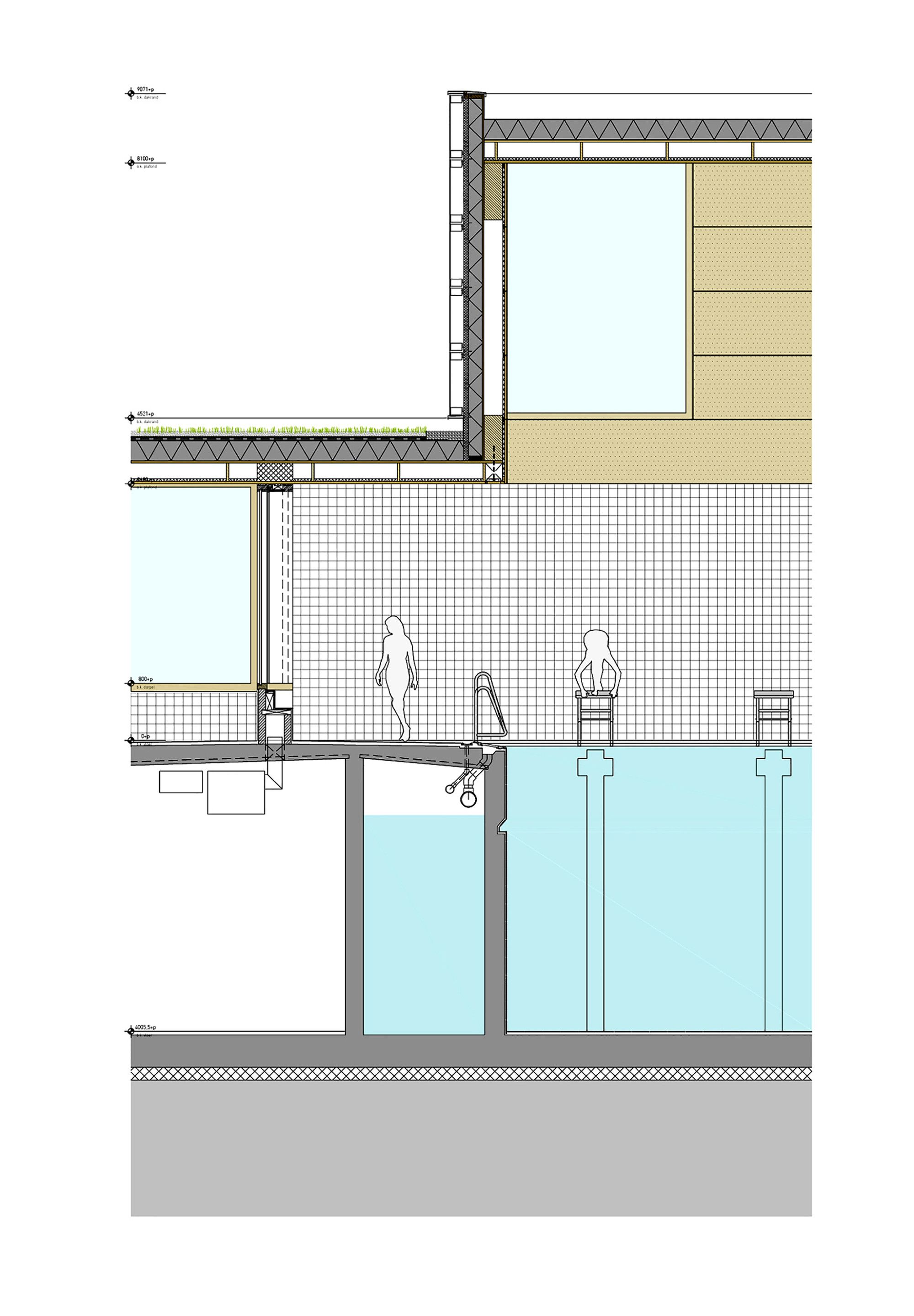 Gallery of multifunctional swimming pool complex de for Pool design drawings