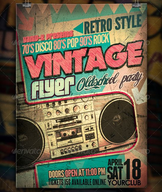 25 Retro  Vintage PSD Flyer Templates Flyer template, Template