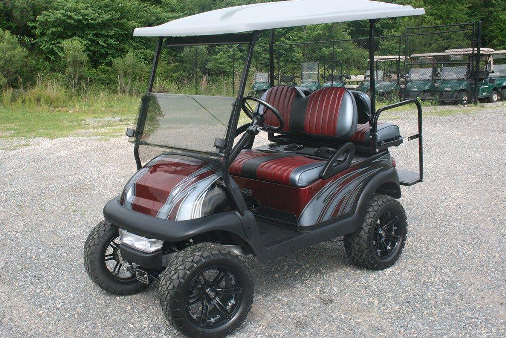 Custom Painted Burgundy With Silver And Black Lifted Golf Cart Club Car Precedent Ccp 010 Golf Carts Lifted Golf Carts Golf