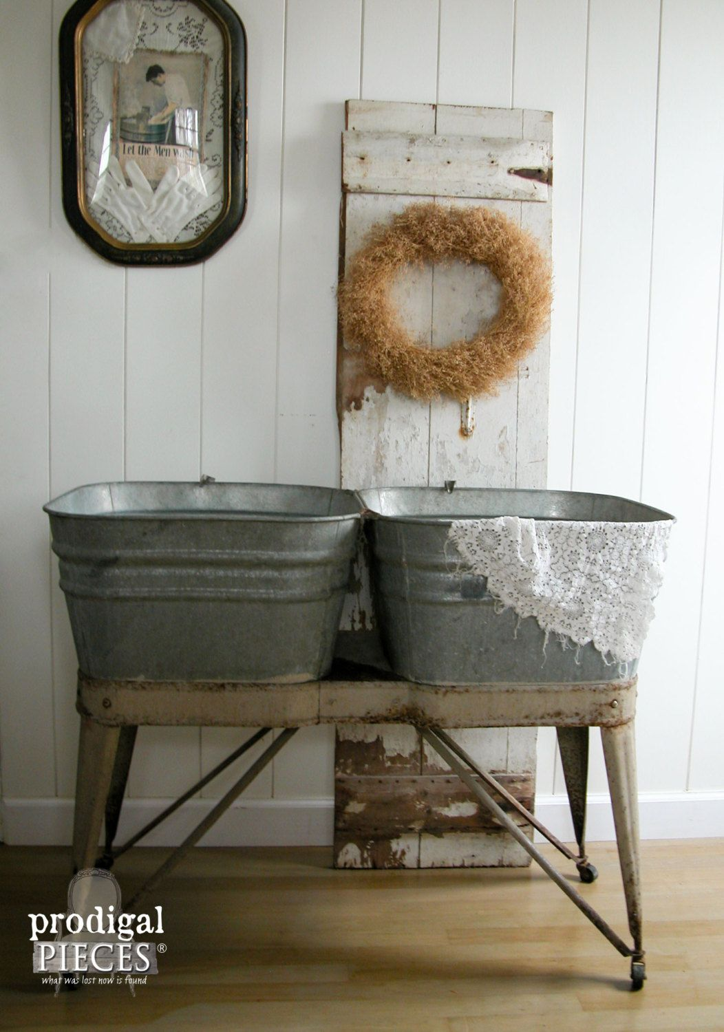 Vintage Mid West Double Galvanized Wash Tub Stand On Casters Rustic Cottage Farmhouse Sinks Galvanized Wash Tub Eclectic Decor Vintage Wash Tubs