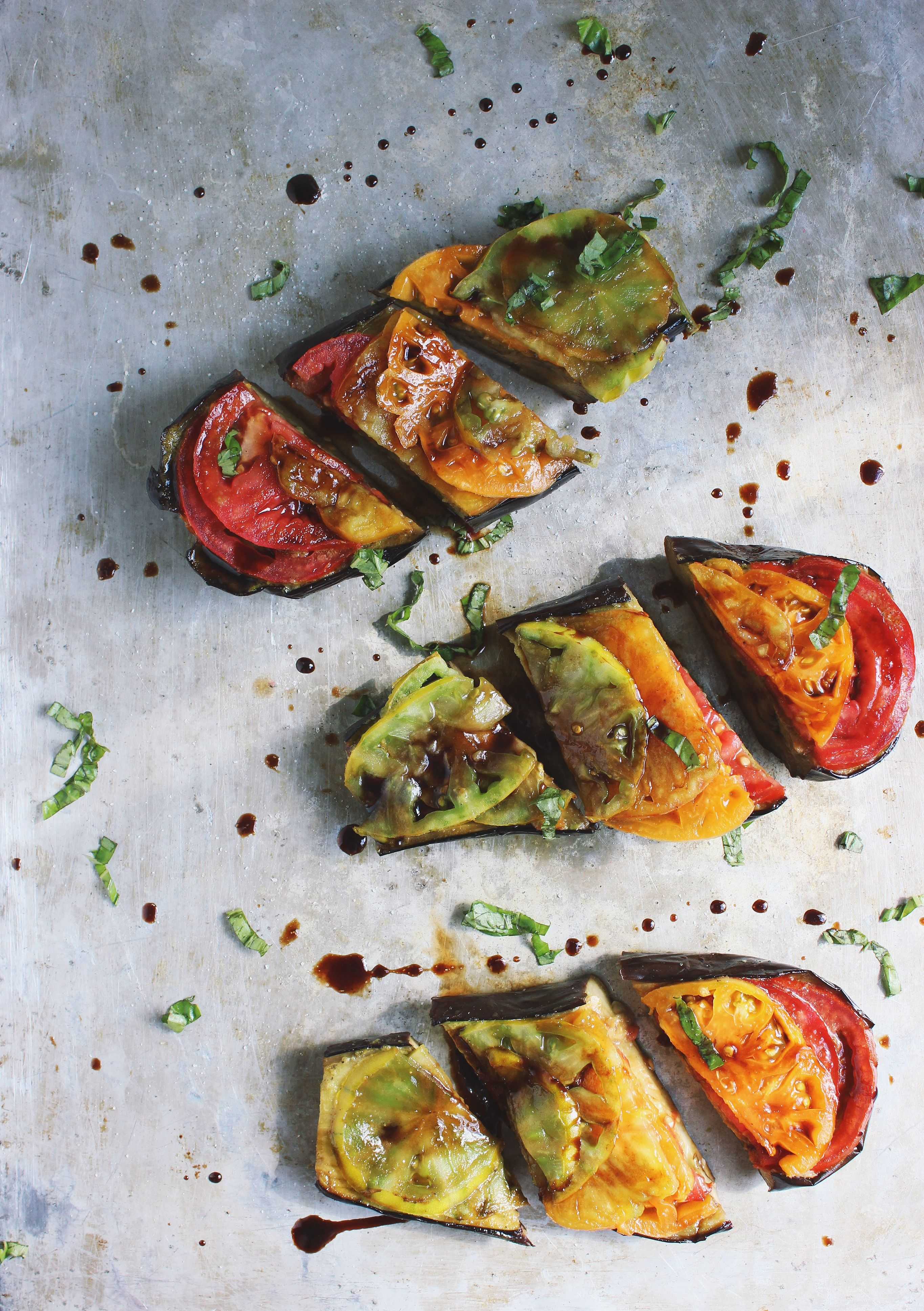 Basil Roasted Eggplant with Heirlooms + a Balsamic Drizzle