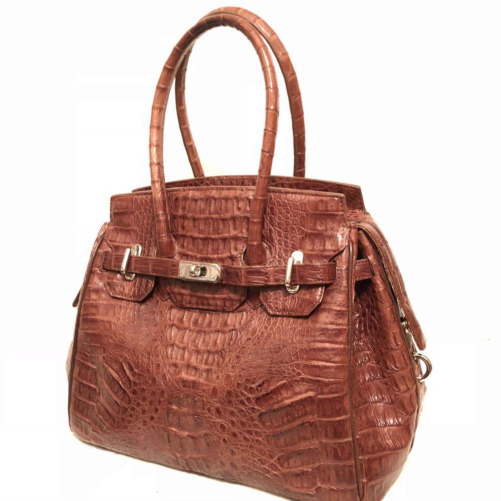 Eileen Kramer Brown Genuine Caiman Crocodile Skin Hand Bag Designer Handbags