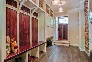 Traditional Mud Room with Hardwood floors, Glass panel door, Pendant light, Crown molding, Built-in bookshelf