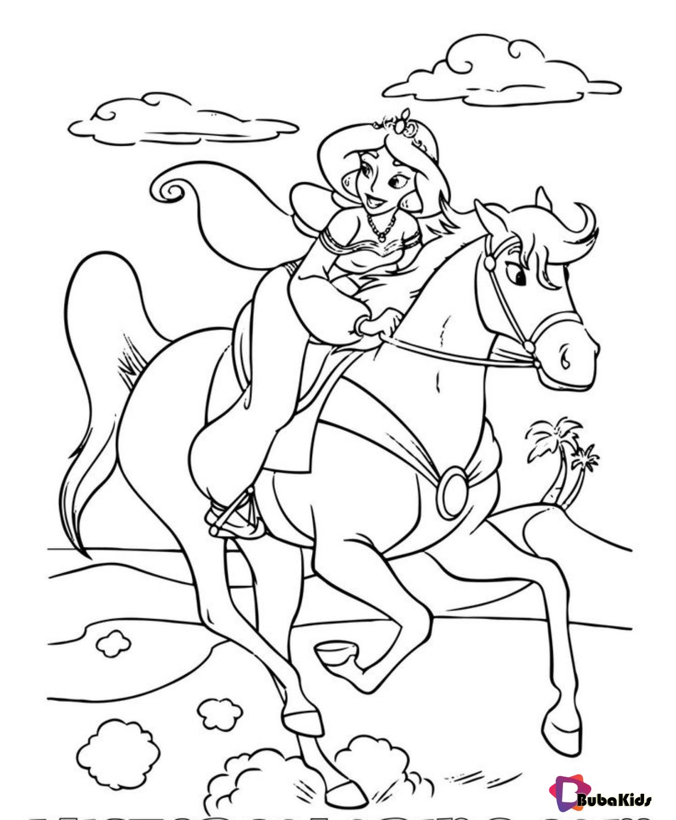 Princess Jasmine Riding Sahara Aladdin Coloring Page And Printable On Bubakids Com Aladdin Horse Coloring Pages Cartoon Coloring Pages Princess Coloring Pages [ 1625 x 1339 Pixel ]
