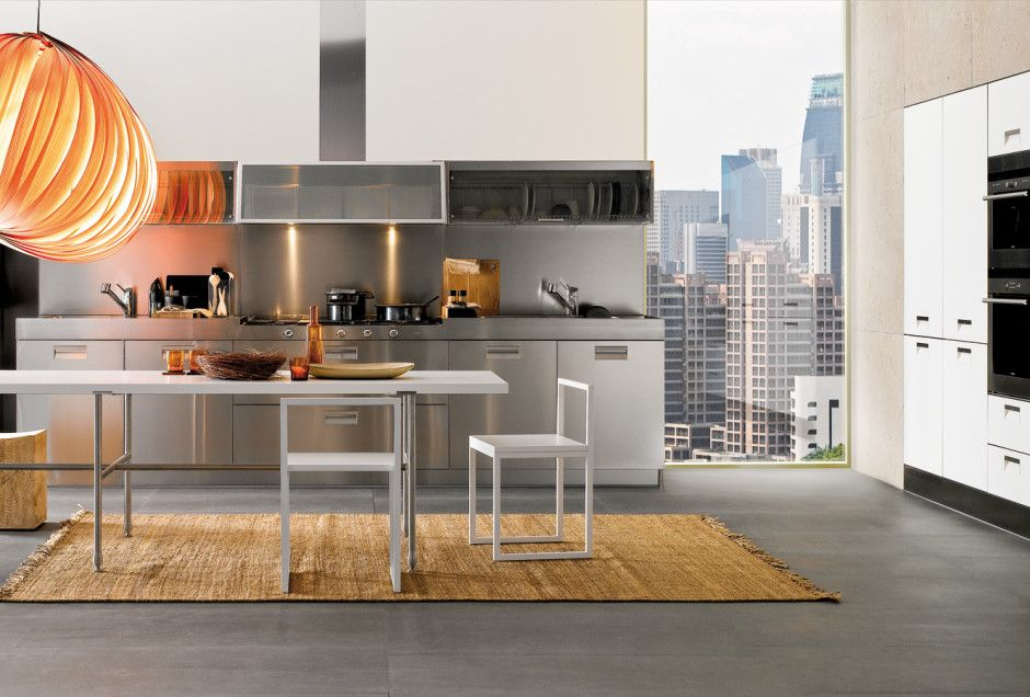Kitchen, Stainless Steel Kitchen Cabinets Big Lantern And Brown Rug: Modern  Italian Kitchen Design From Arclinea
