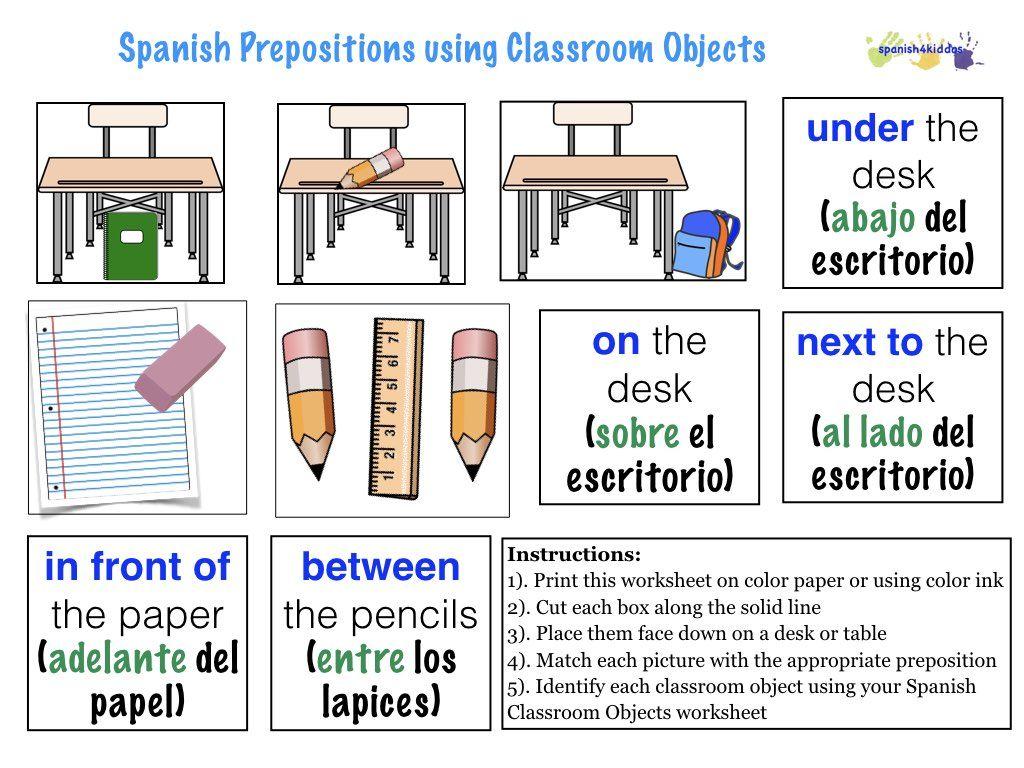 Spanish Prepositions Spanish4kiddos Spanish Prepositions Prepositions Alphabet Worksheets [ 768 x 1024 Pixel ]