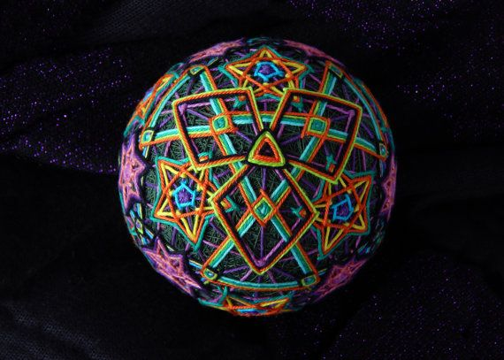 Temari Ball Dancing Flames Handmade Home Decor by ThreeNineLands