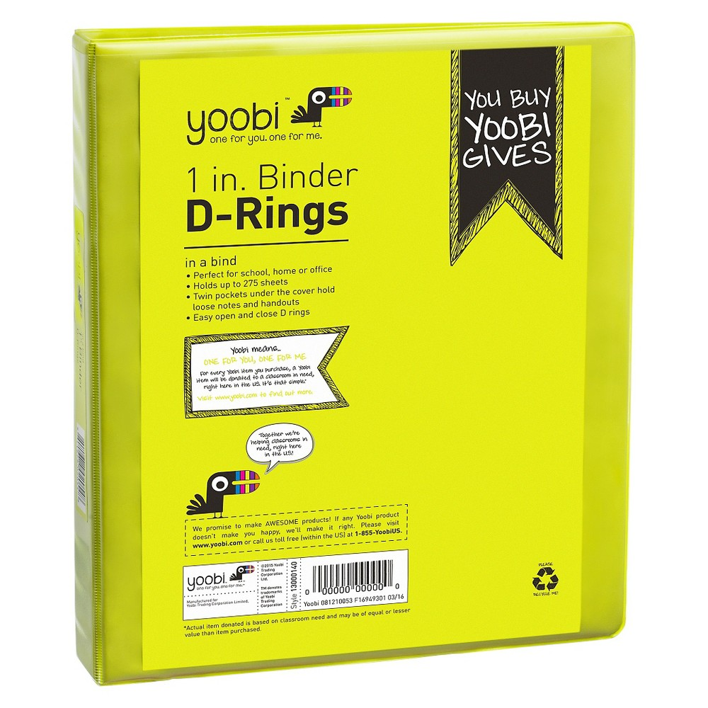 Yoobi 1 Binder With Easy-open D Ring - Green