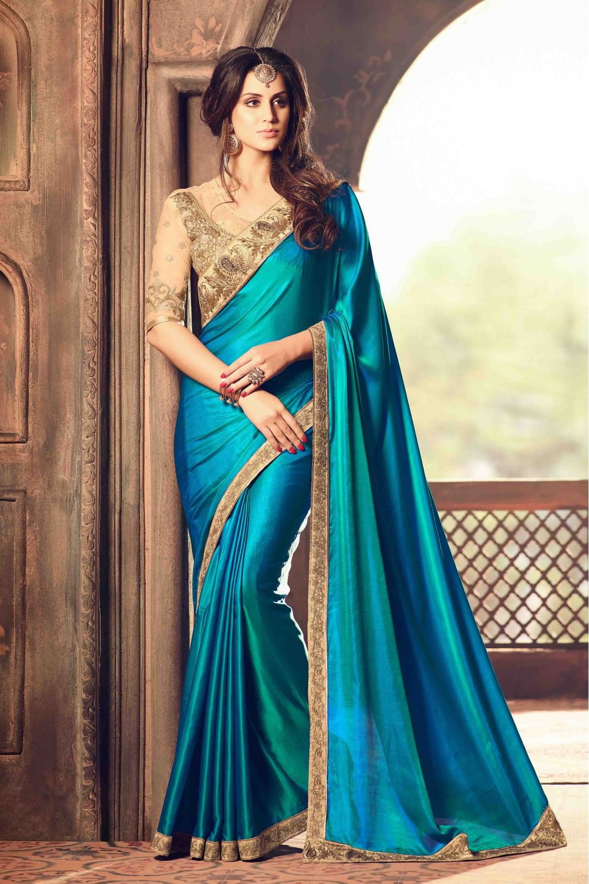 5455be299a Buy Silk Designer Saree In Teal Blue Colour for women @ ninecolours.com.  Worldwide Free Shipping Available!