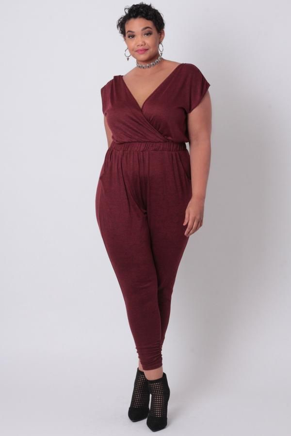 5c9e058c8b894 Women s Plus Size Retro Love Jumpsuit - Burgundy - Curvy Sense ...