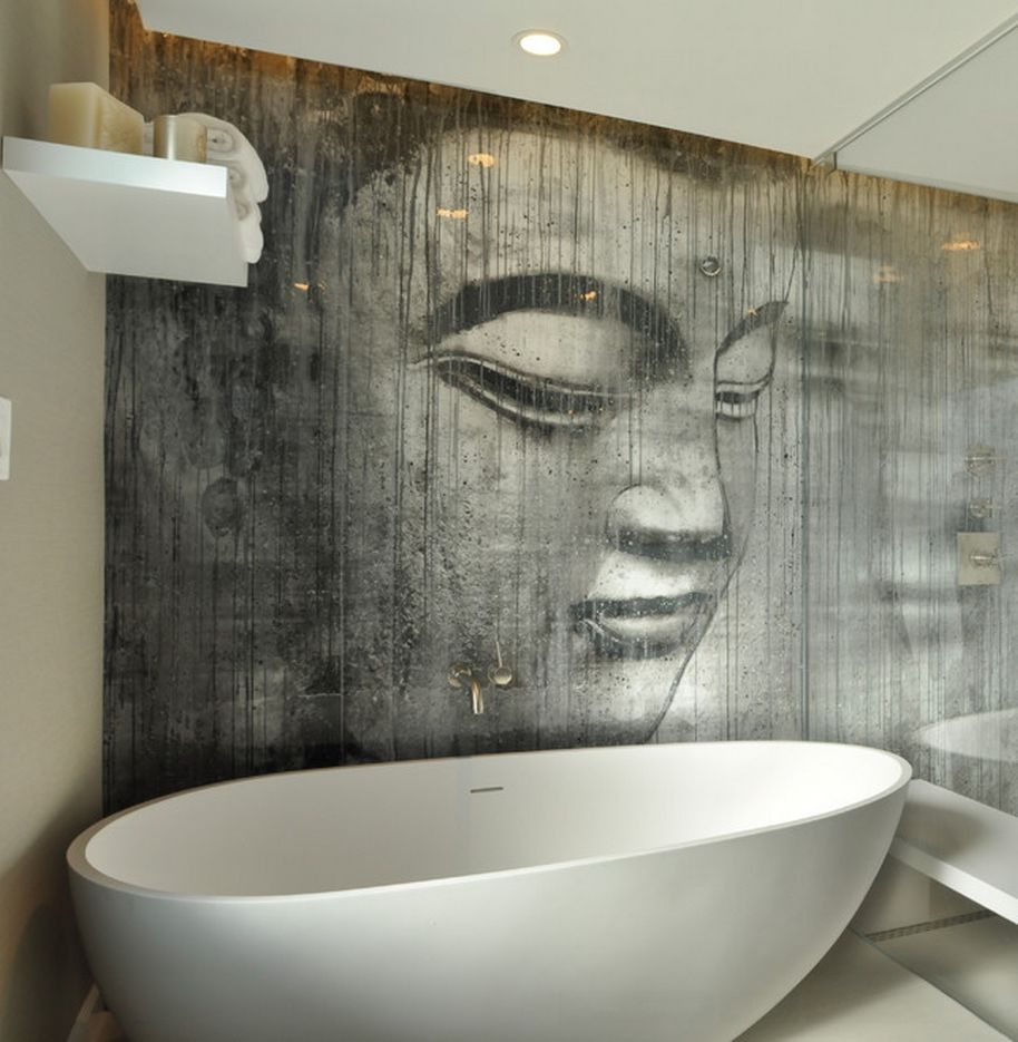 Buddha wallpaper in a bathroom. It's sealed behind a glass