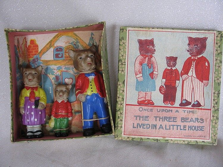 Boxed All Original 1950s Made In Japan Bisque Three Bears Japan Vintage Toys Bisque