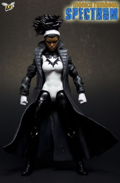 Monica Rambeau Spectrum Custom Action Figure Female Superheroes And Villains Custom Action Figures Super Hero Costumes Monica rambeau is included in the product line and her bag clip is wearing a white, silver and black superhero rambeau debuted in the marvel cinematic universe as the daughter of maria rambeau in captain marvel. monica rambeau spectrum custom action