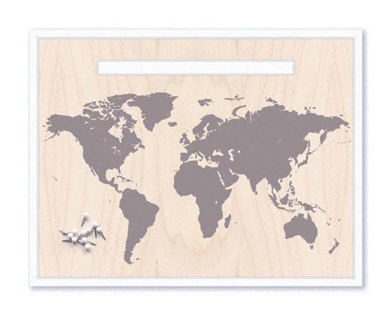 World Map & Pin Set - Grey. $15.00, via Etsy.