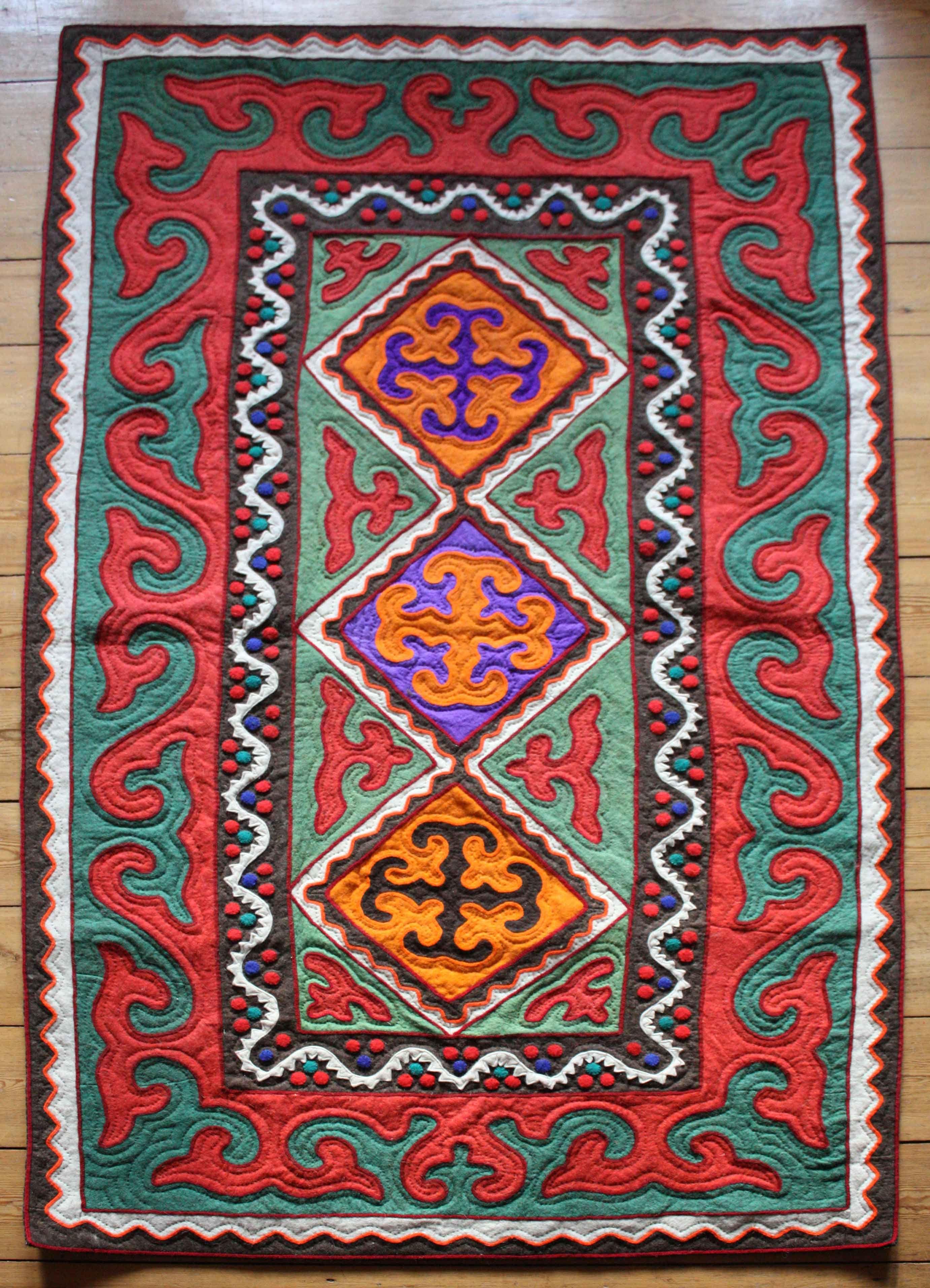 Kyrgyz Shyrdak Felt Rugs Customizable Pure Wool Worldwide