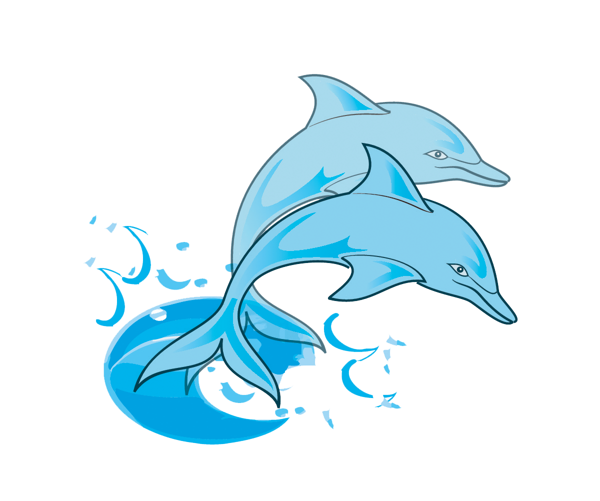 Dolphin paintings Free Pair of Blue Dolphins Clip Art