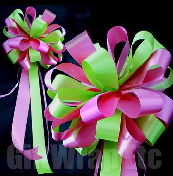10 hot pink fuchsia lime citrus green wedding bows pew chair gift ...
