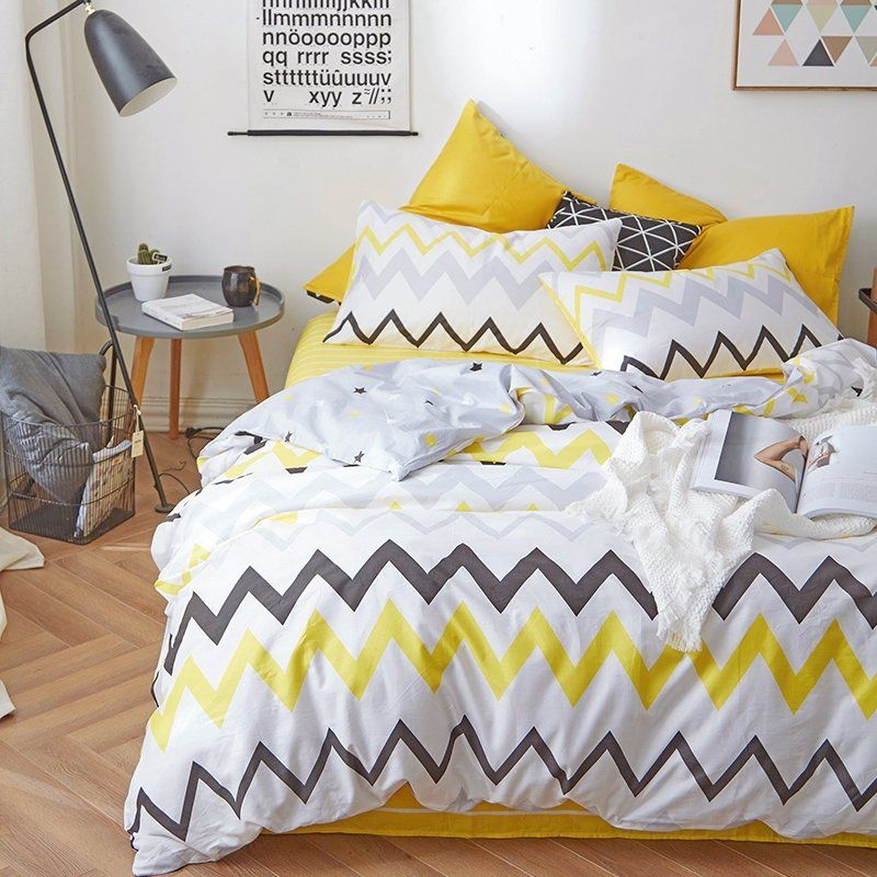 Yellow Black White And Grey Aztec Stripe Print Unique Modern Chic Twin Full Size Bedding Bed Yellow Bedroom Decor Grey Bedroom Teenager Yellow Girls Bedroom