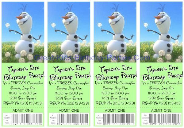 Frozen Invitations  Free Printable Ticket Invitations Easy To